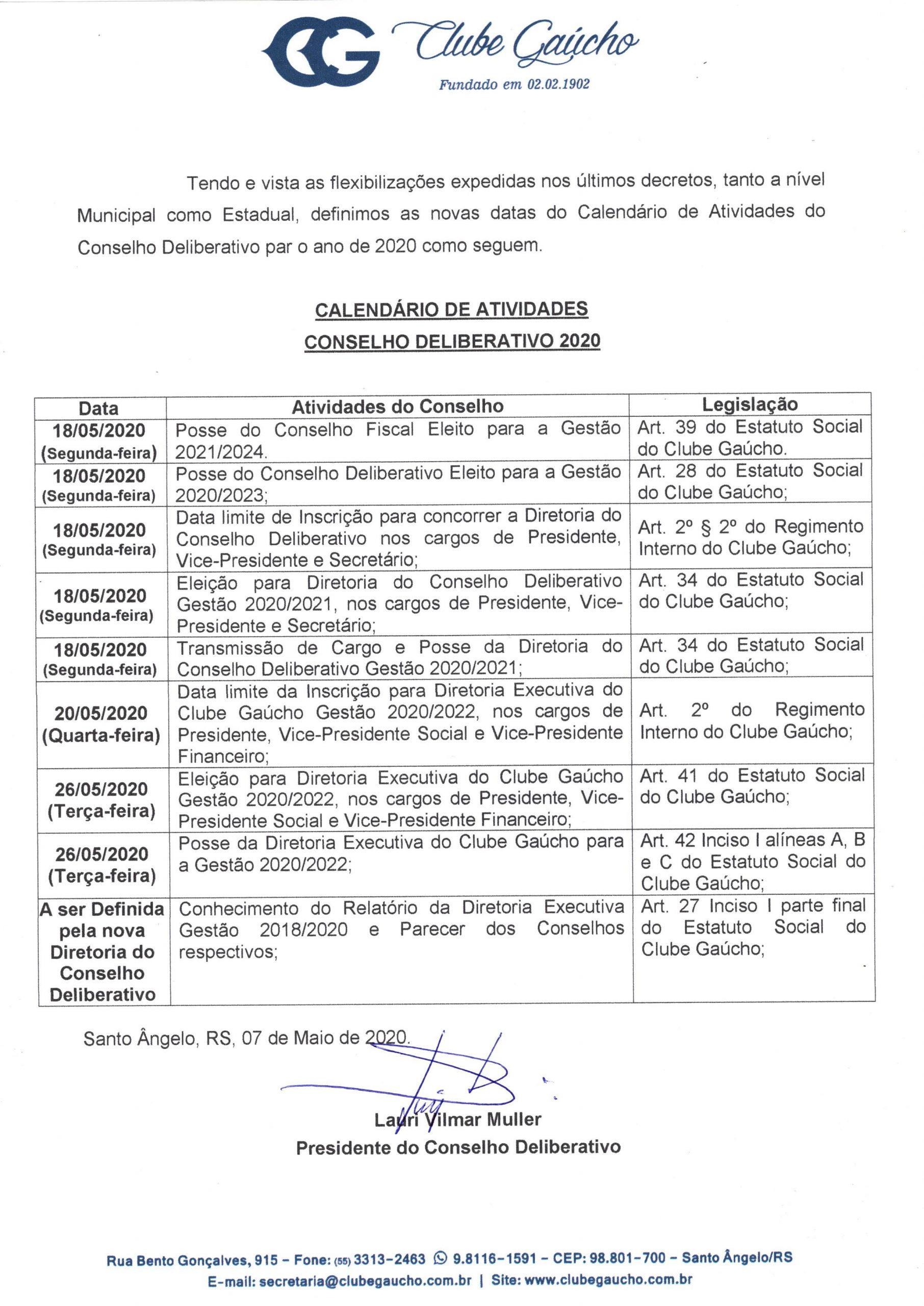 CALENDÁRIO DE ATIVIDADES CONSELHO DELIBERATIVO 2020