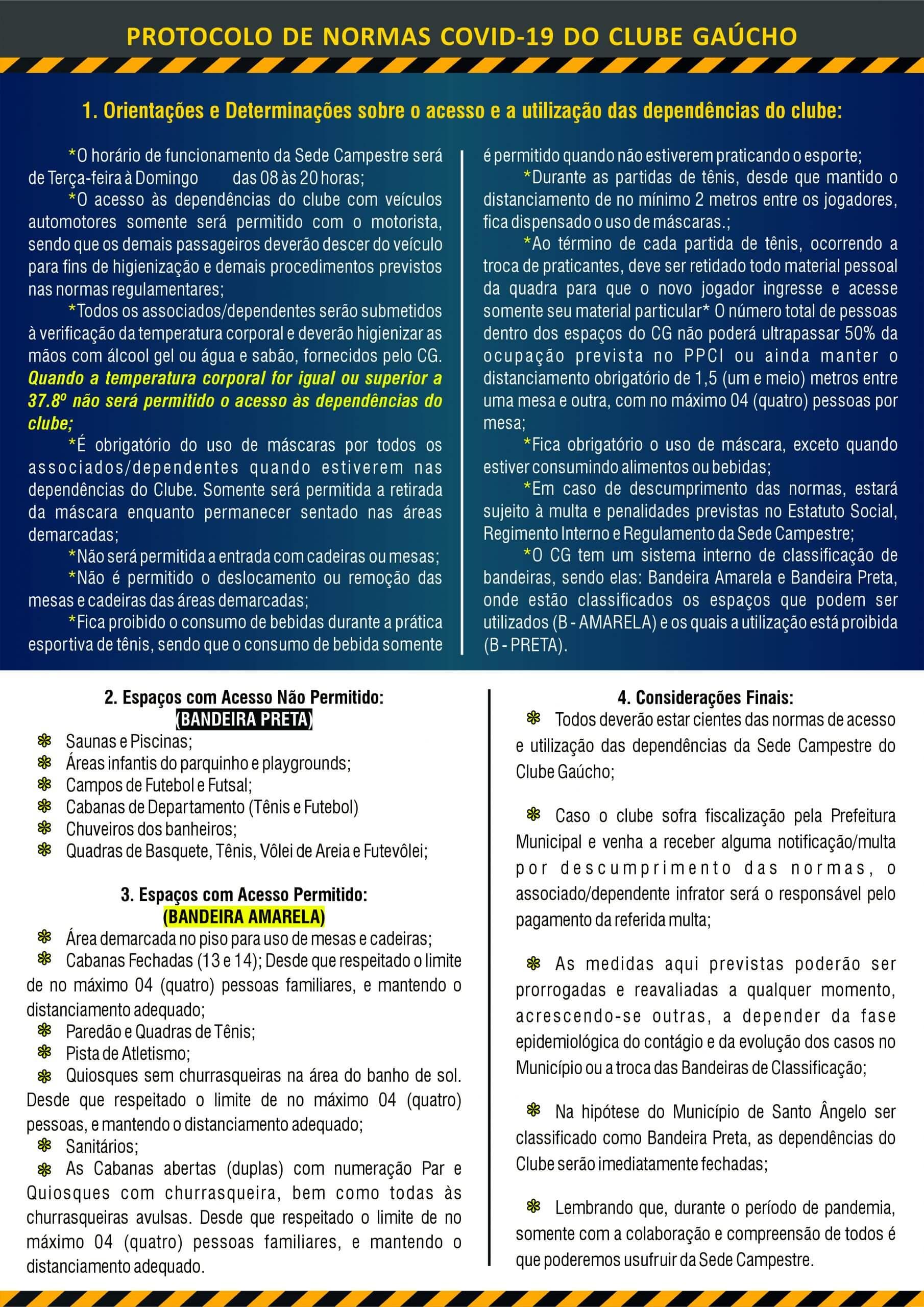 Novo Protocolo de Normas Covid-19 do Clube Gaúcho